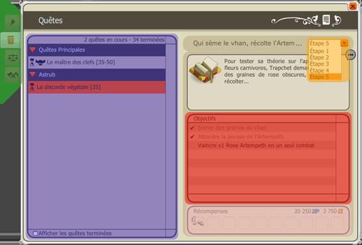 Interface du Journal des quêtes