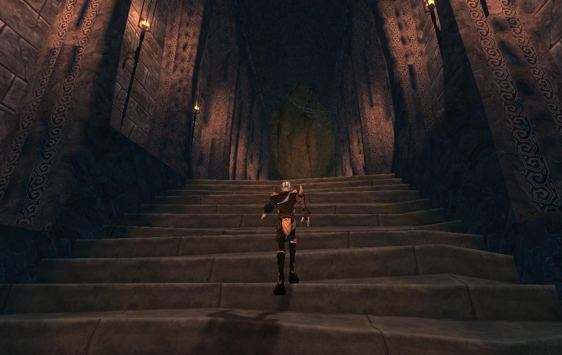 Escaliers menant vers la Caverne des Épreuves