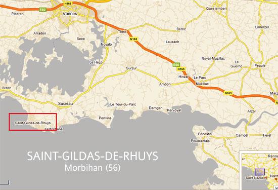 illustration : carte routière localisant Saint-Gildas-de-Rhuys