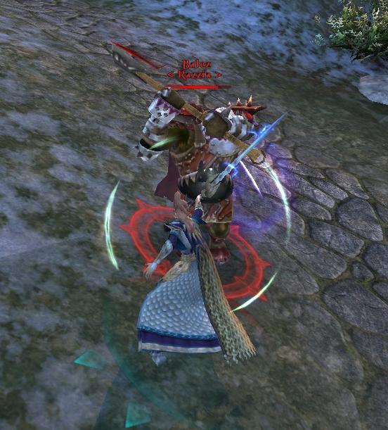 Un Maître des Epées face à un Orque noir