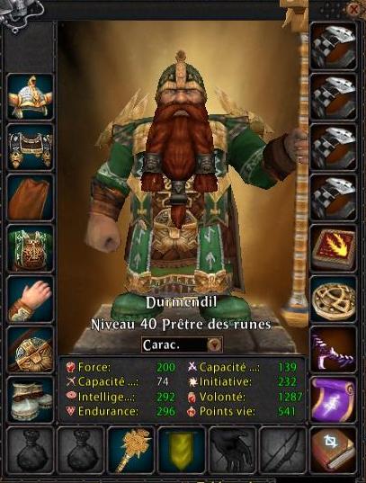 Feuille de personnage d'un Prêtre des Runes