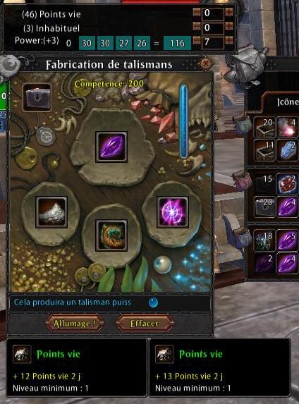 Une fenêtre de création de talismans avec l'add-on CraftingWillard