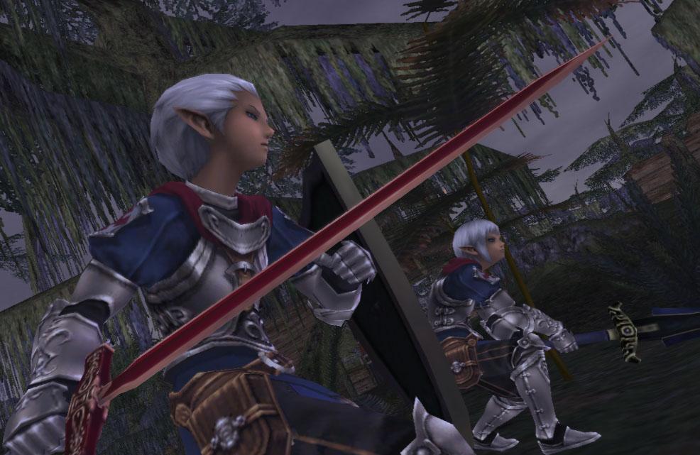 jeunes elfes dégainnant leurs épées
