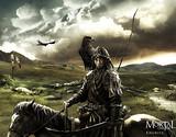 Un Khurite sur son cheval, rapace sur l'épaule